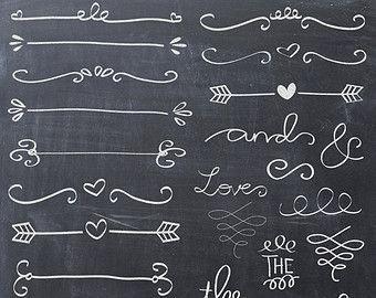 30 Hand drawn corner clipart chalk and black Scrapbook embellish Invitation Chalkboard Blog graphics commercial use #scrapbook