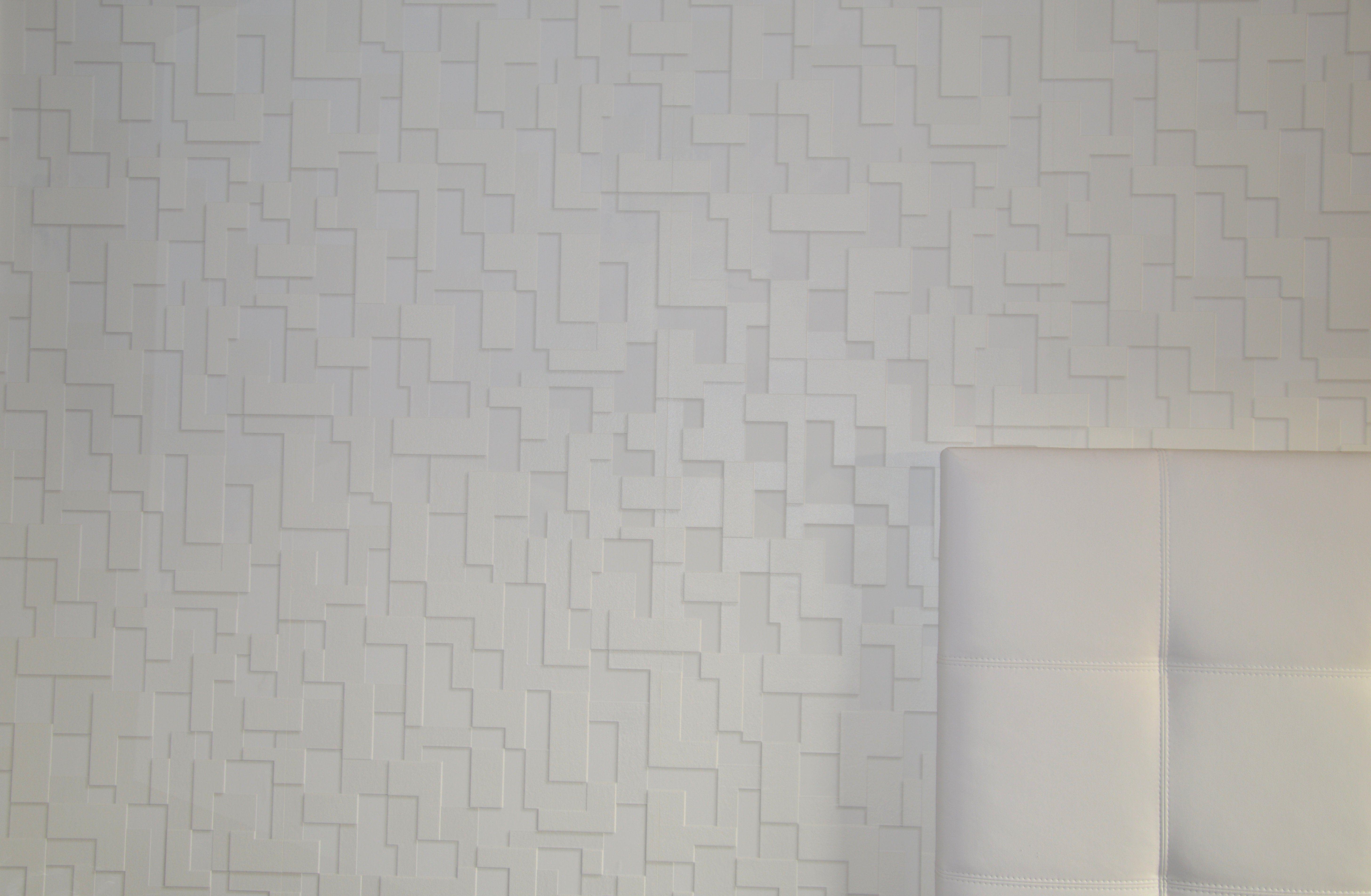 Papel pintado textura ladrillo. Color blanco. Cabecero cama blanco. ¿Y en negro?, ¿Cual es tu color?