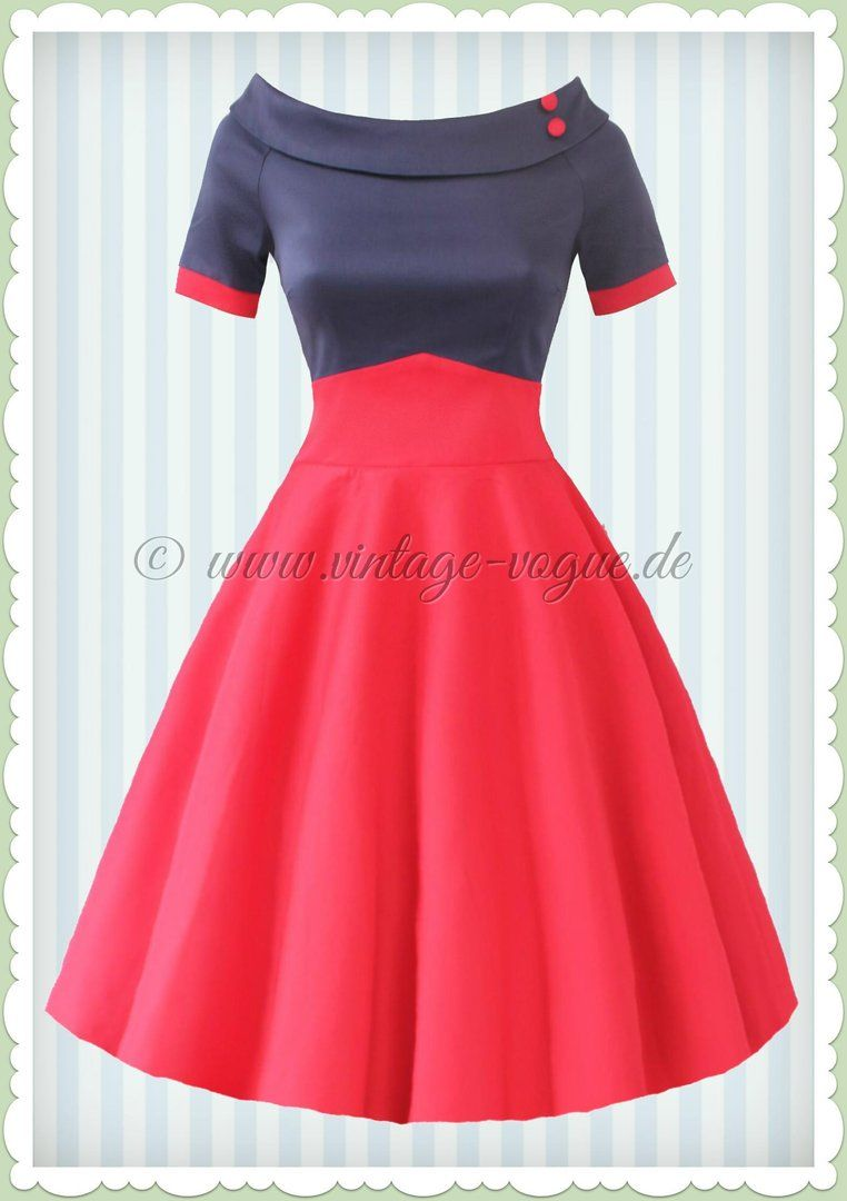 Dolly & Dotty 50er Jahre Rockabilly Petticoat Kleid - Darlene - Navy ...