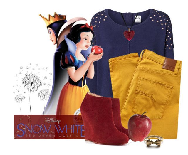 """""""Snow White inspired set"""" by candysweetieglam ❤ liked on Polyvore featuring Vero Moda, jcp, Nobody Denim, Pier 1 Imports, Baccarat, women's clothing, women, female, woman and misses"""