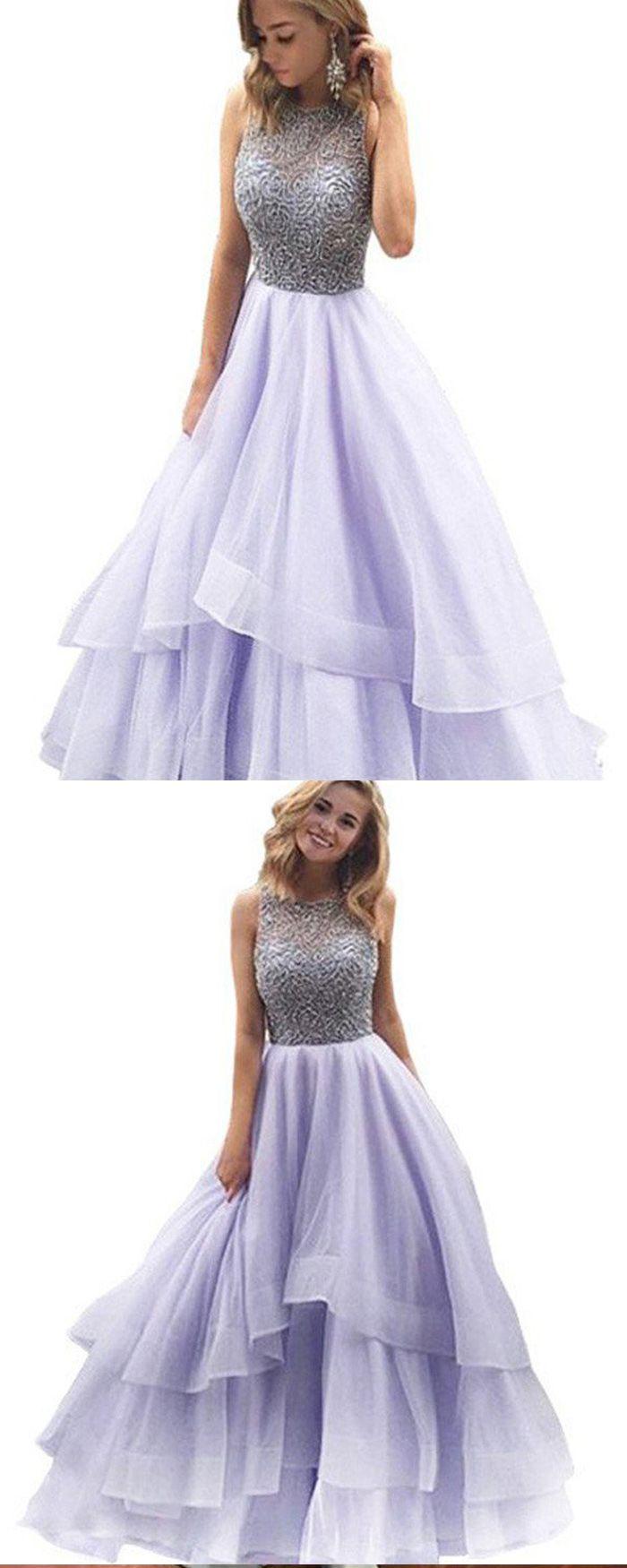 Jewel beading bodice lavender long prom dress with layered skirt