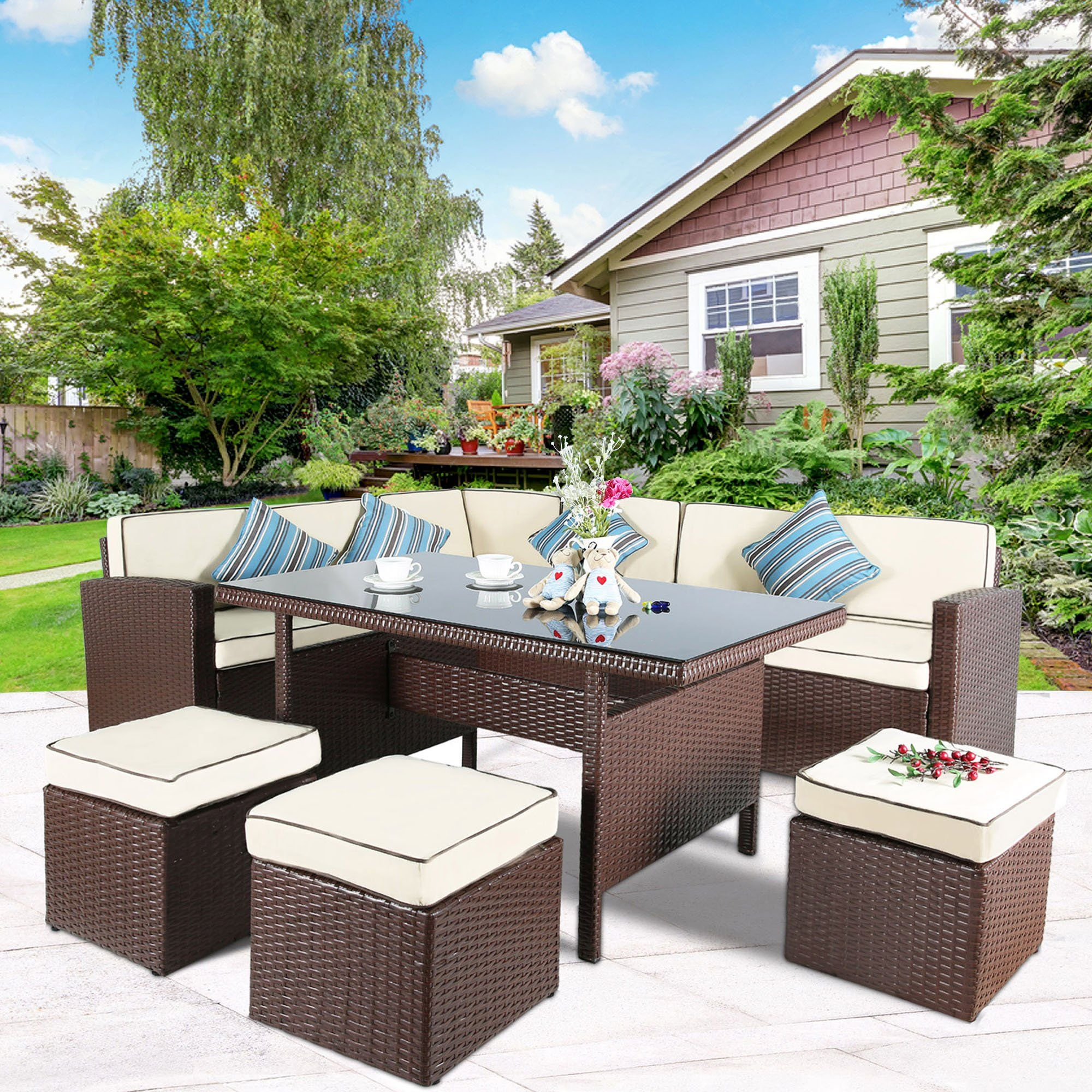 Cloud Mountain 7 Pc Patio Wicker Rattan Dining Set Outdoor