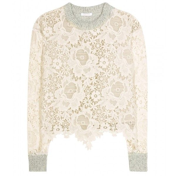 cad32090 See by Chloé Lace and Wool Sweater ($395) ❤ liked on Polyvore ...
