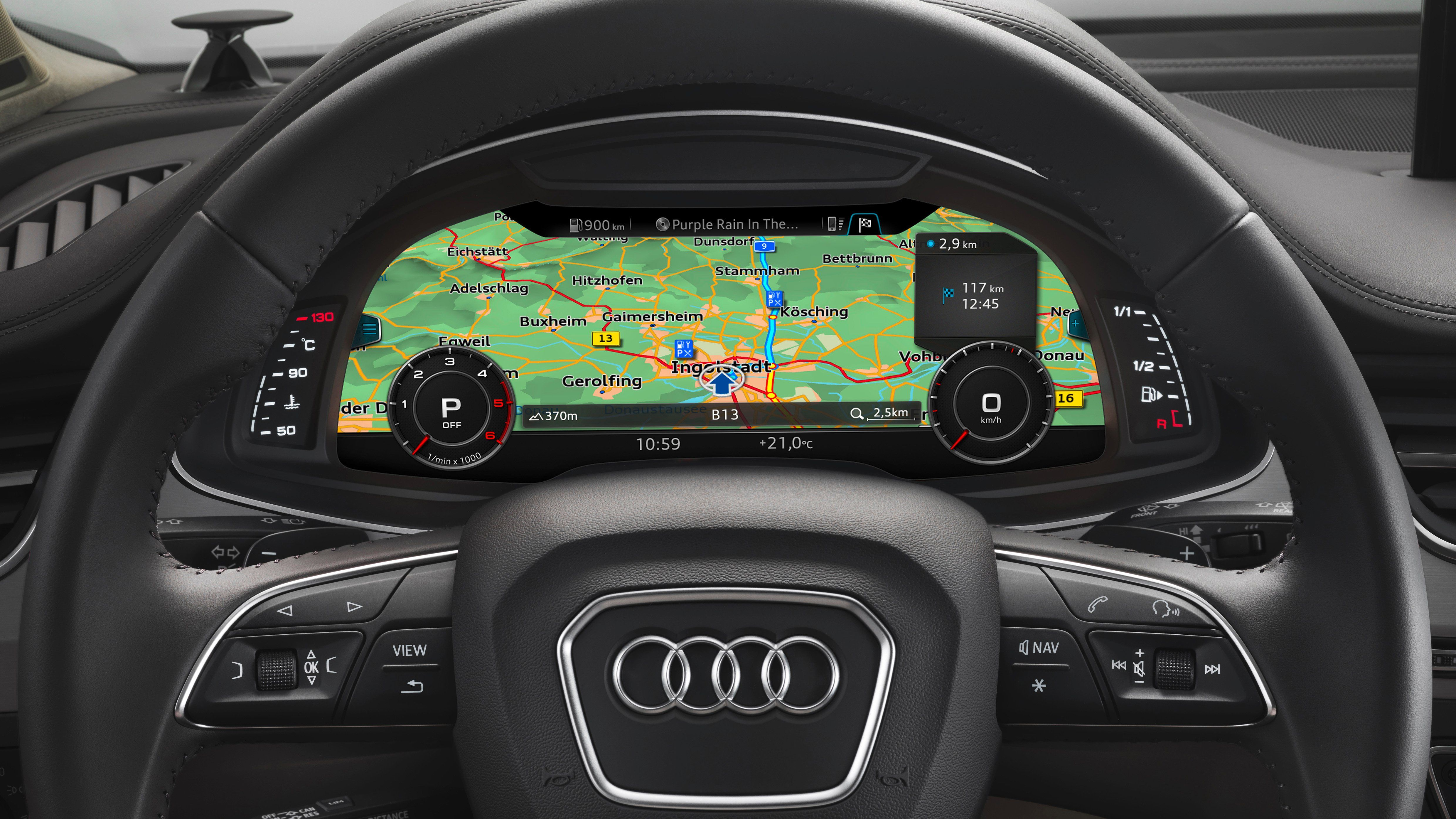 """••AUDI Q7•• 2016 cockpit - at NAIAS (Detroit NA  International Auto Show) 2015-01-16: """"Best Designed Interior"""" EyesOn Design Awards incl. """"Innovative Use of Color + Graphics + Material"""" • picture is 4960×2790! pixels ; ) • full-size premium SUV • more room for: head / shoulder / leg • 2nd gen modular infotainment platform MMI w/ large touchpad w/ AppleCarPlay + Audi tablet for back seats + 3D Bang & Olufson sound w/ Bose Surround • quattro all-wheel-drive etc. • 3L V6 TDI/TFSI clean diesel"""