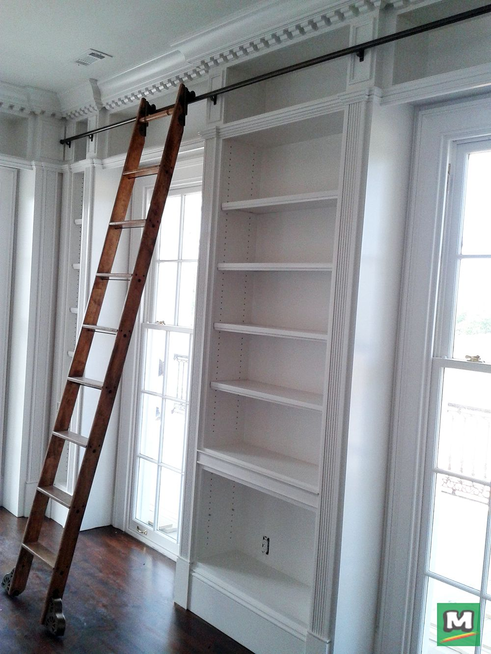 Add The Quaint Look Of A Library Ladder To Your Living Space With A Quiet Glide Rolling Hook Ladder Hardware Kit Cabinet Decor Library Ladder Ladder Decor
