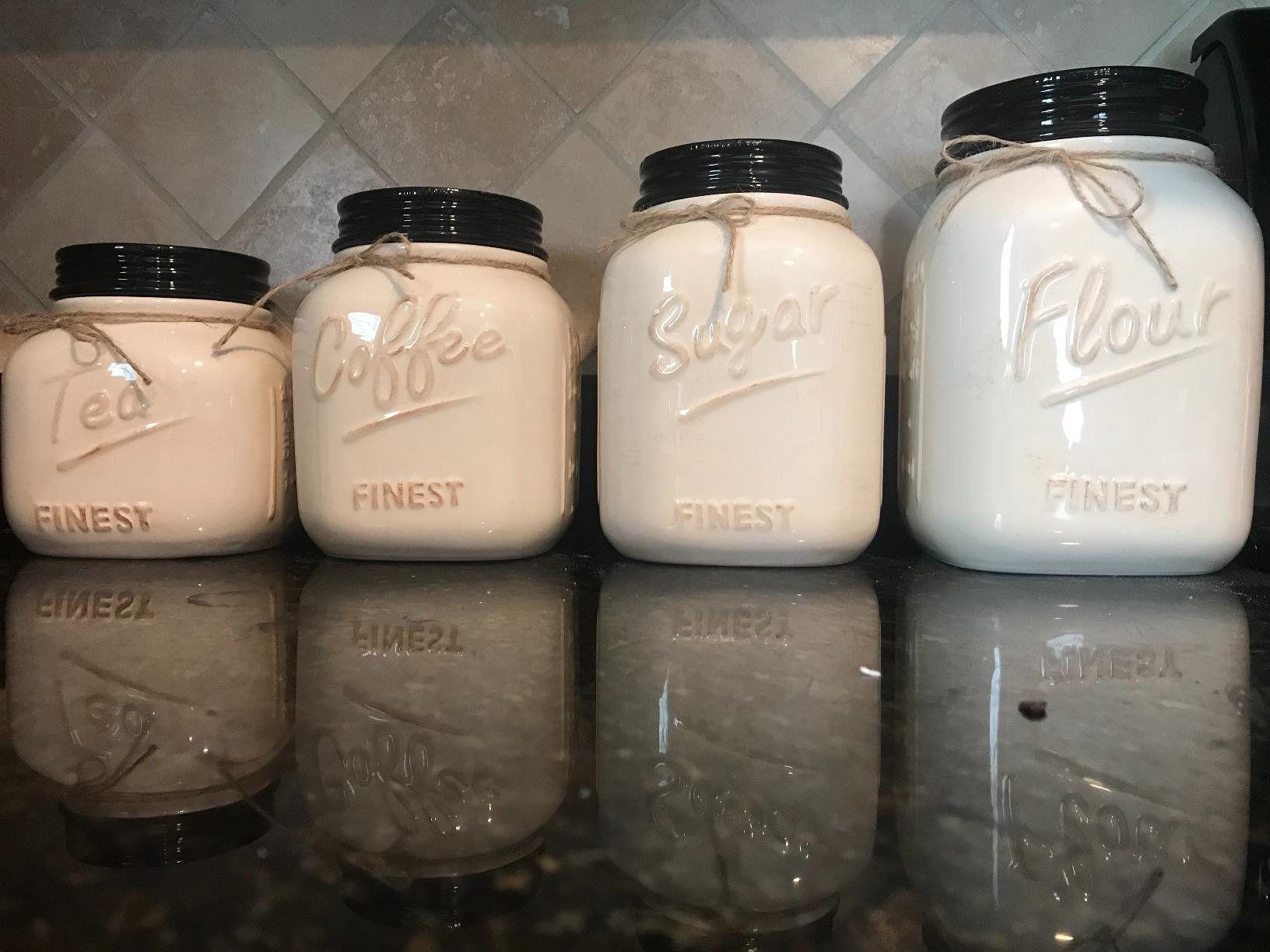 Large Set Of 4 Canister Set For Kitchen Flour Jar Sugar Jar Coffee Jar Canister Set Kitchen Decor Farmhouse D Rustic Kitchen Decor Canister Sets Flour Jar