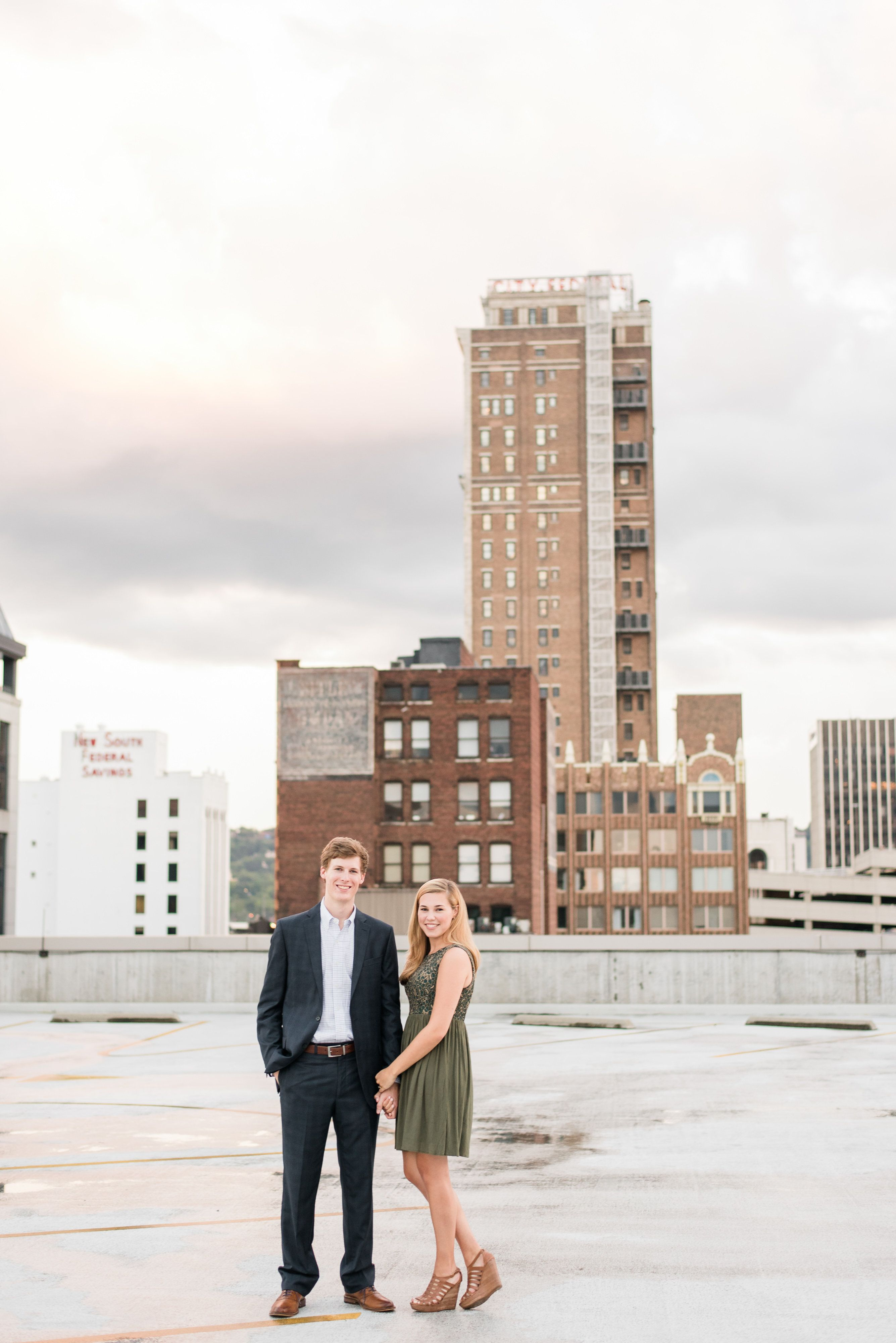 Downtown Rooftop Engagement Rooftop Photoshoot Birmingham
