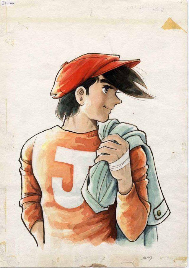 赤いハンチング帽を被ってトレンチコートを肩に担いでいる矢吹丈のあしたのジョーの壁紙