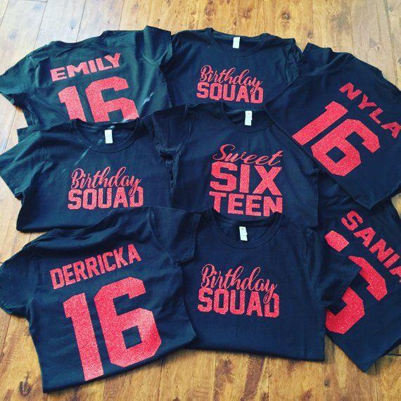 Sweet 16 Birthday SQUAD shirts, group birthday shirts ...