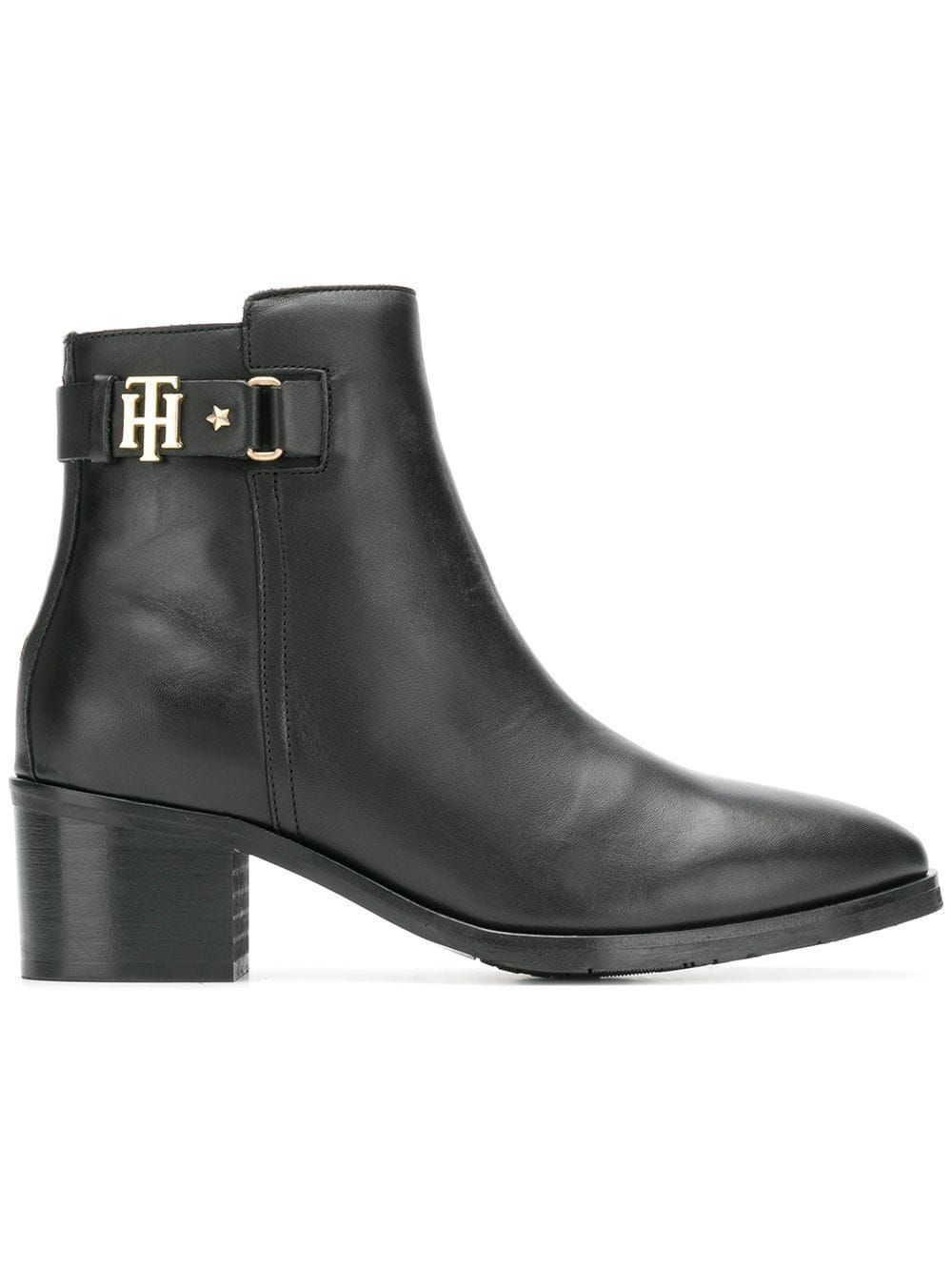 e29ad42c542 TOMMY HILFIGER TOMMY HILFIGER LEATHER ANKLE BOOTS - BLACK ...