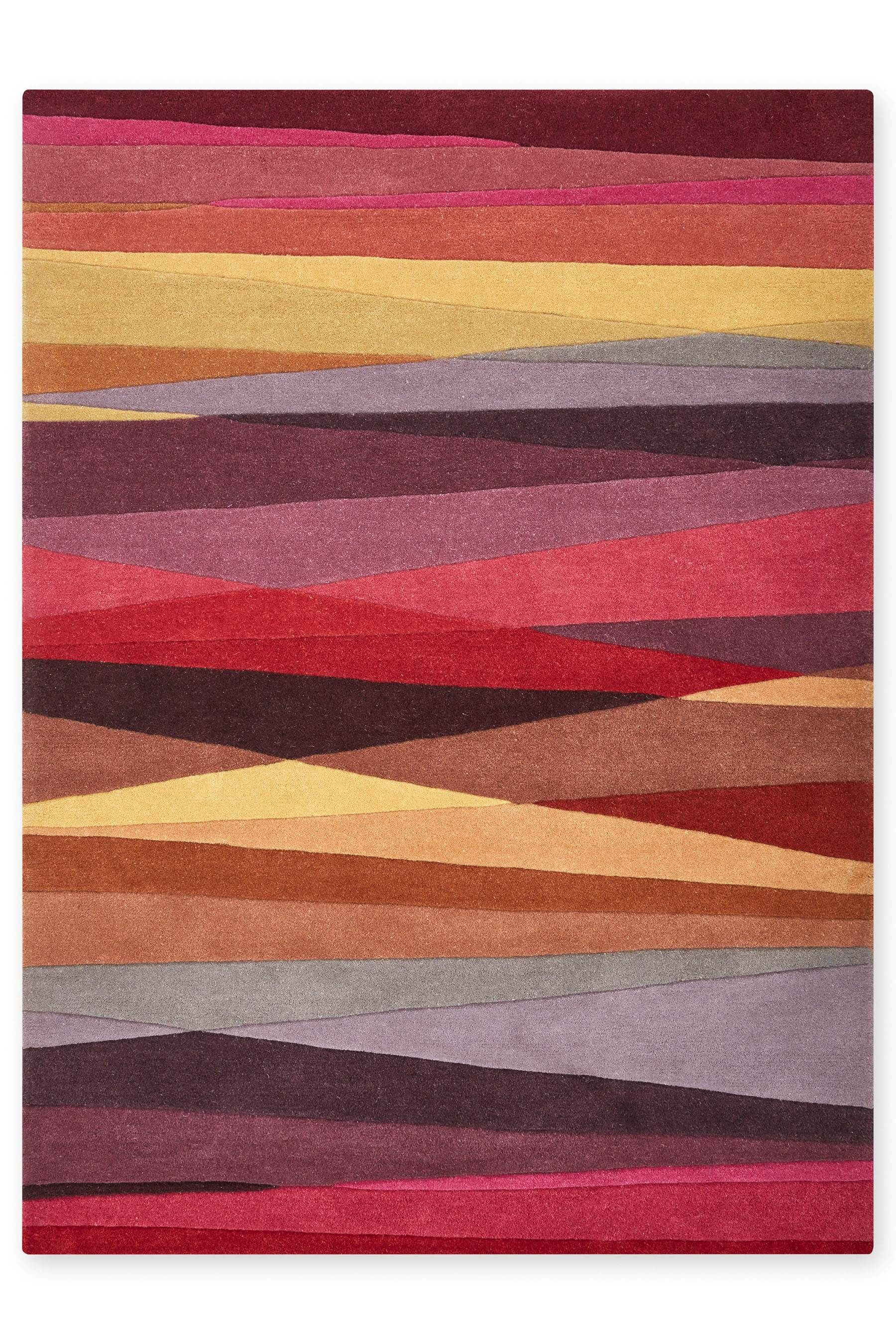 Wool Abstract Multi Stripe Rug From The Next Uk Online