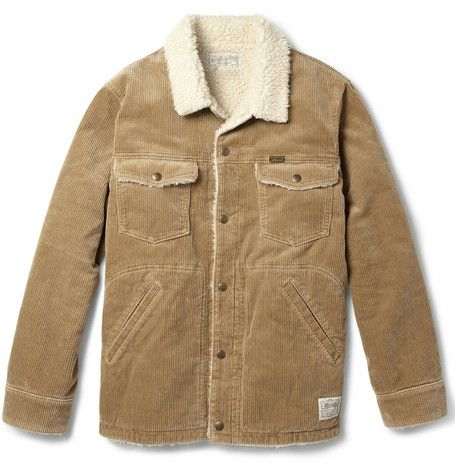 Mens corduroy jacket with shearling
