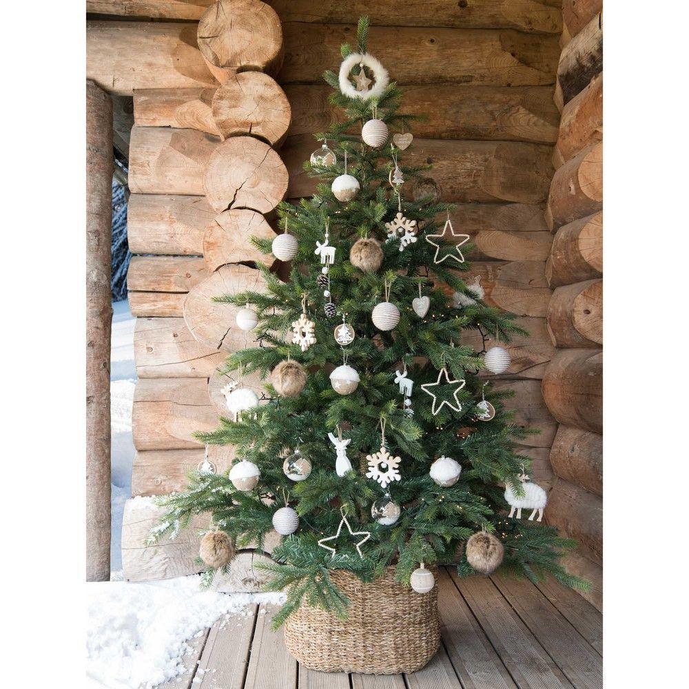 Adorno de Navidad estrella bicolor e imitación a piel blanca | Maisons du Monde