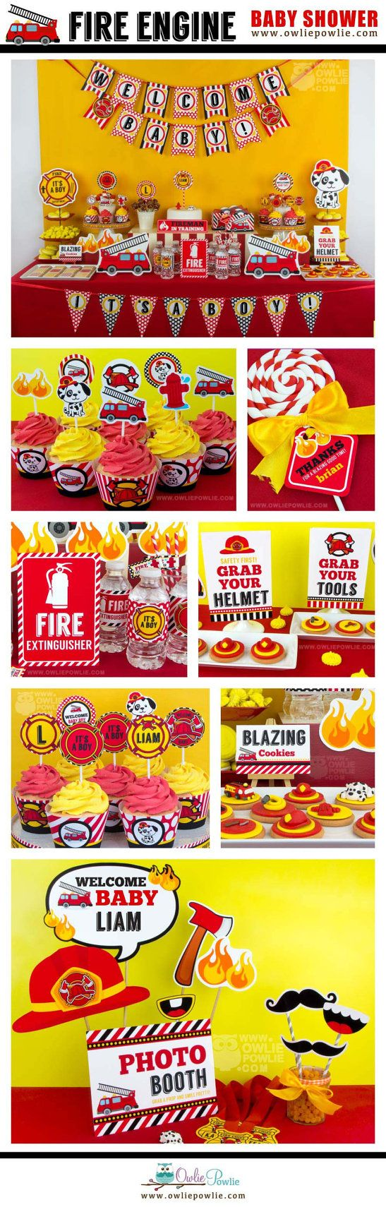 Fire Engine BABY Shower Party Printable Package & by OwliePowlie