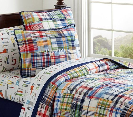 Madras Quilt In 2019 Kaegi Boys Bedding Sets Kid Beds