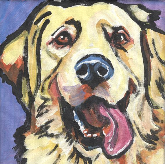 Golden Retriever art print modern Dog art print pop dog art bright colors 8x8 inch