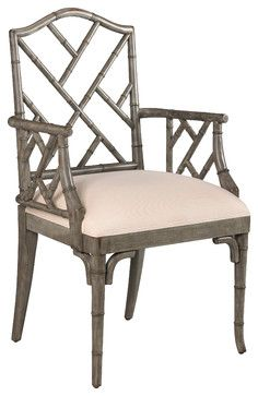 French Heritage   Moselle Arm Chair   East Meets West When Chippendale Goes  Bamboo. Armchair Is Crafted Of Carved Wood To Look Like Bamboo.
