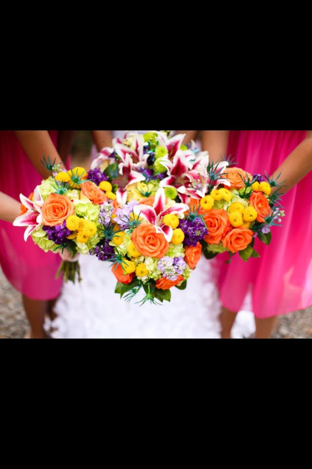 Summer wedding flowers...love the bright colors!