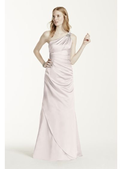 One Shoulder Bridesmaid Dress With Details David S Bridal Satin Dress Long Dresses Bridesmaid Dresses