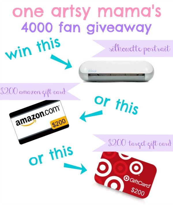 I'm helping One Artsy Mama celebrate a HUGE Facebook milestone - 4000 fans!  Win a $200 prize of your choice!