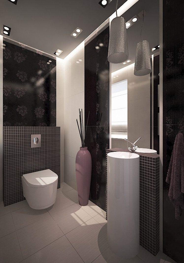 Cool, Elegant, Kleines Bad Mit Einfachen Waschbecken Set Badezimmer Ein  Winziges Badezimmer Entwickelt Einige