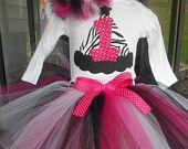 Girls 1st Birthday Zebra Party Hat Applique Onesie TuTu  Outfit Pink Black White sz 12 18 24 months. $29.99, via Etsy.
