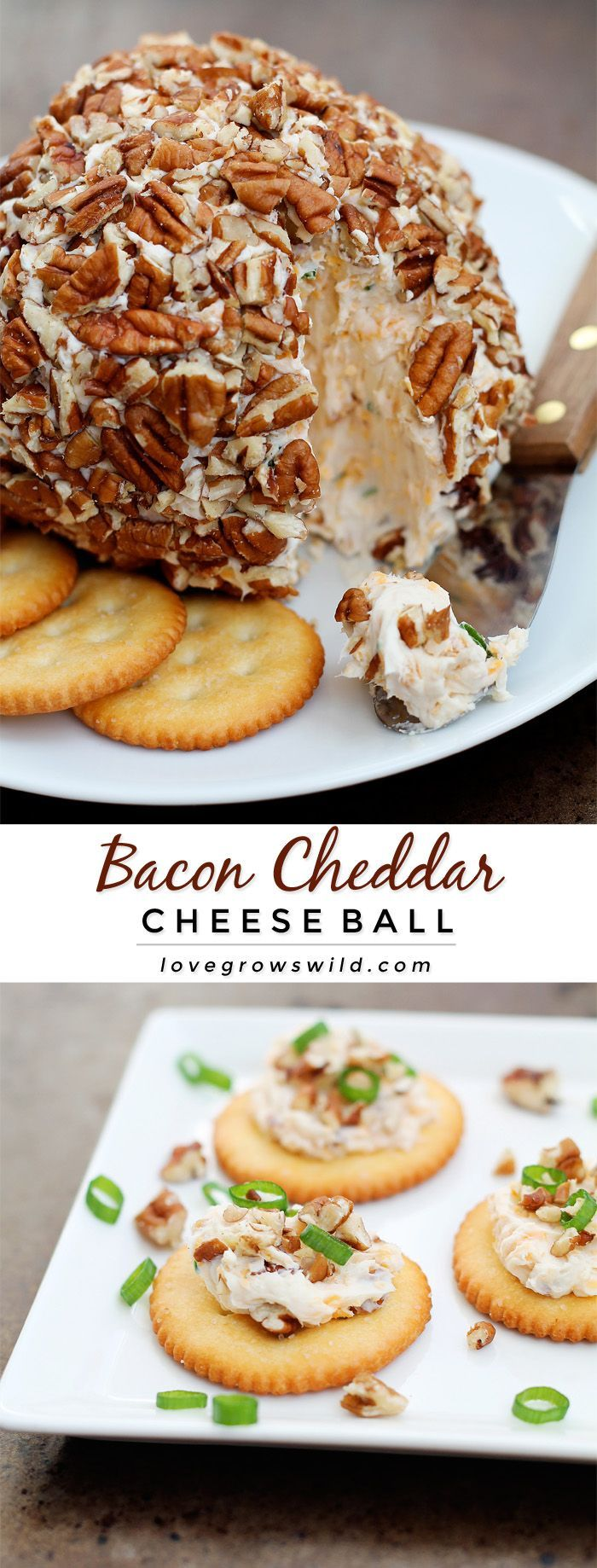 This Bacon Cheddar Cheese Ball is always a party favorite! Super creamy, loaded with bacon, and wrapped in pecans for a delicious and easy appetizer!   LoveGrowsWild.com