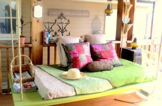 3. Dreamy Hanging Bed - 8 Amazingly Perfect DIY Porch Swings … |Lifestyle