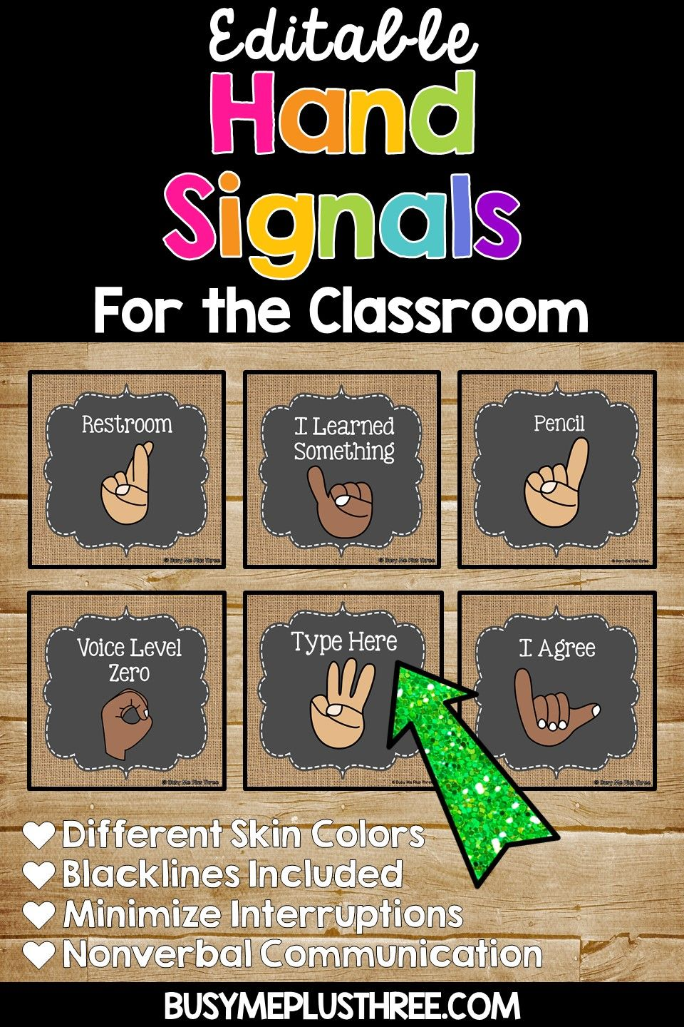 Hand Signals for the Classroom Burlap & Chalkboard Signs ...