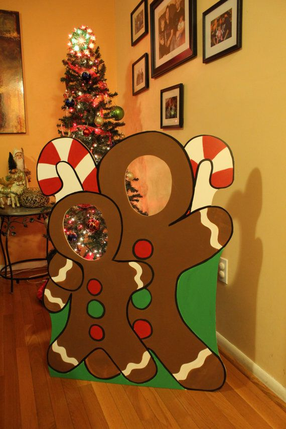 Christmas Stand In Cutouts.Gingerbread Wooden Photo Booth Prop Face In Hole Photo Op