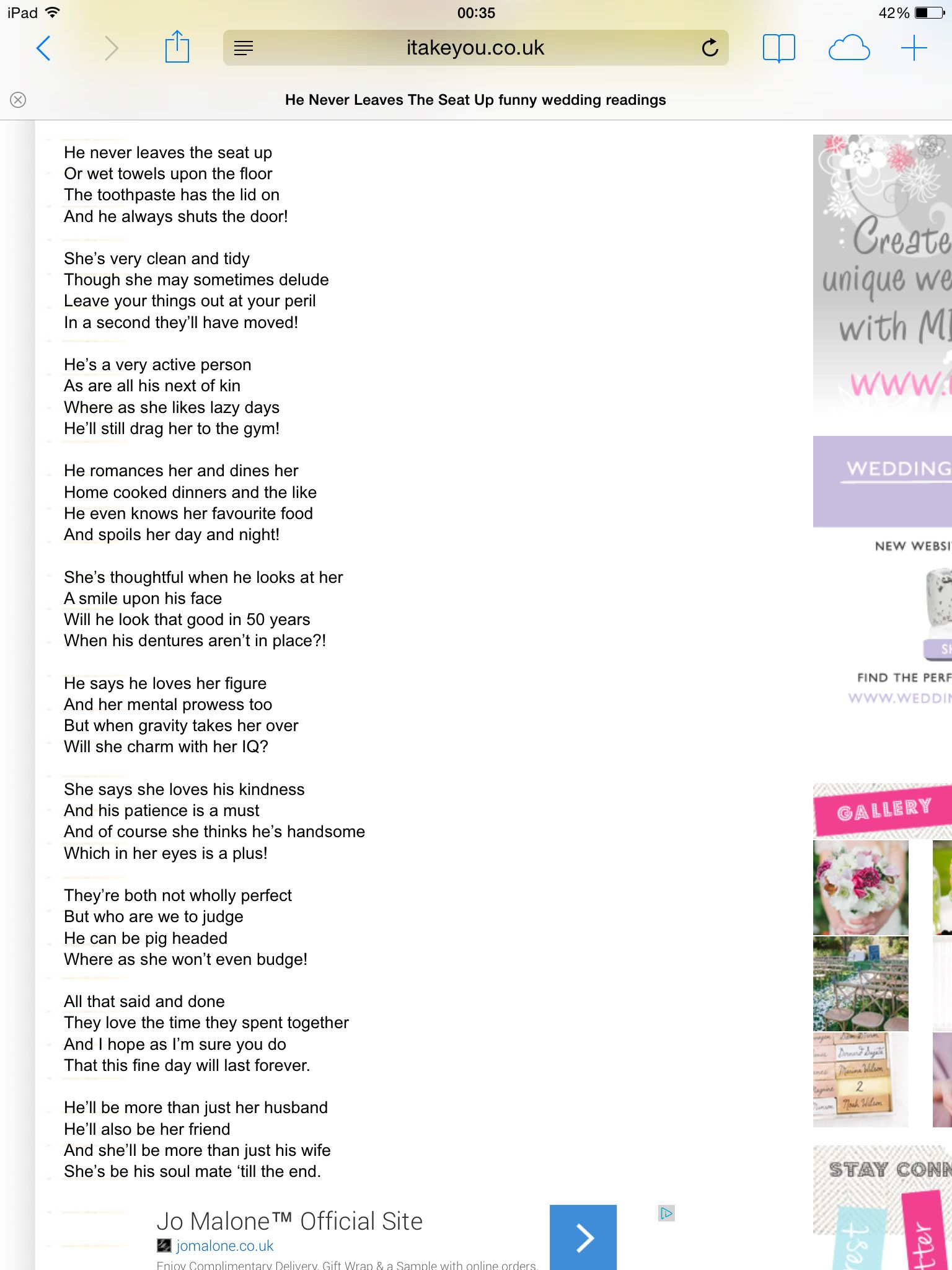 British Poet Pam Ayres Wrote This Very Funny Poem She Delivers It Brilliantly But I M Sure Any Of Your Funny Wedding Speeches Wedding Speech Wedding Poems