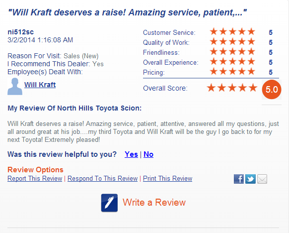 Check Out One Of Our Customeru0027s Personal Opinion! #NorthHills #Toyota