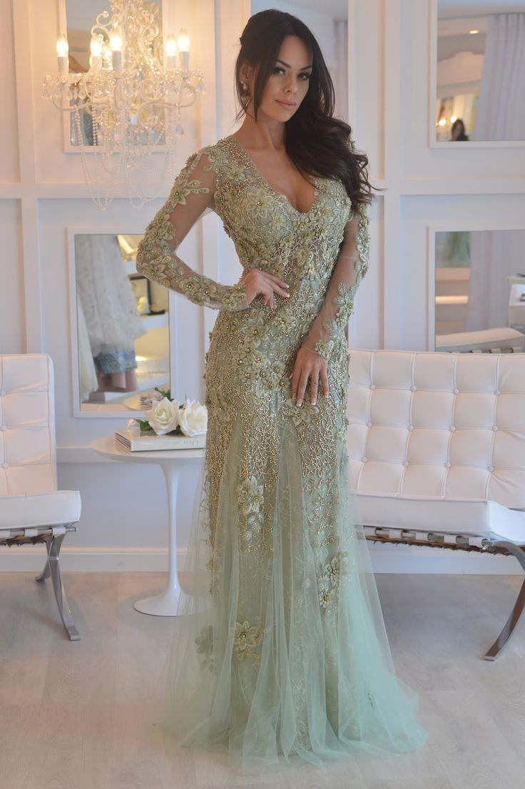 Sheath vneck long sleeves sage prom dress with appliques beading
