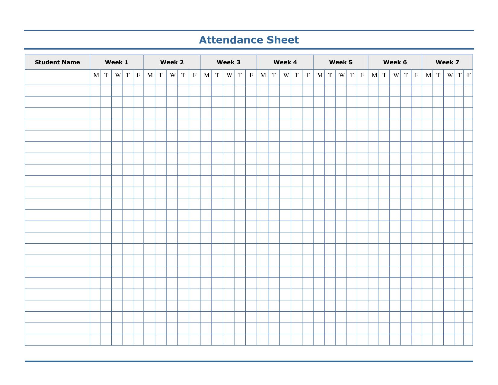 Free Printable Blank Attendance Sheets  Attendance Sheet