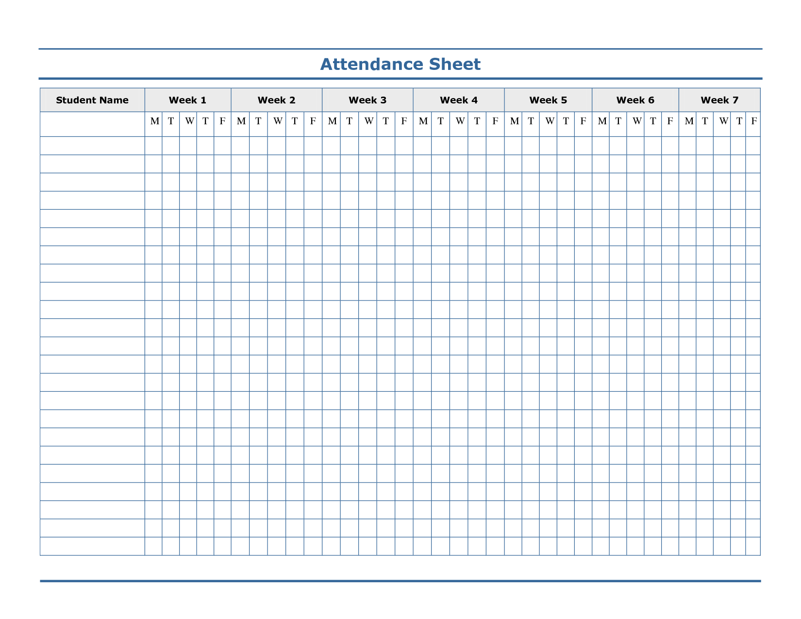 Free Printable Blank Attendance Sheets
