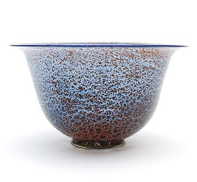 Found on www.botterweg.com - Light blue glass Unica bowl B 173 with red colour powders and black antimony crackle on applied stand design A.D.Copier 1927 executed by Glasfabriek Leerdam / the Netherlands
