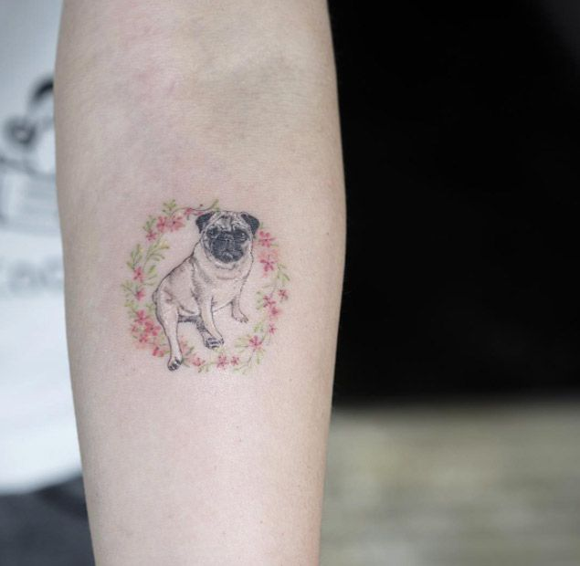 6b35f1e432542 28 Miniature Animal Tattoos for Women | Tattoo | Dog tattoos, Pug ...