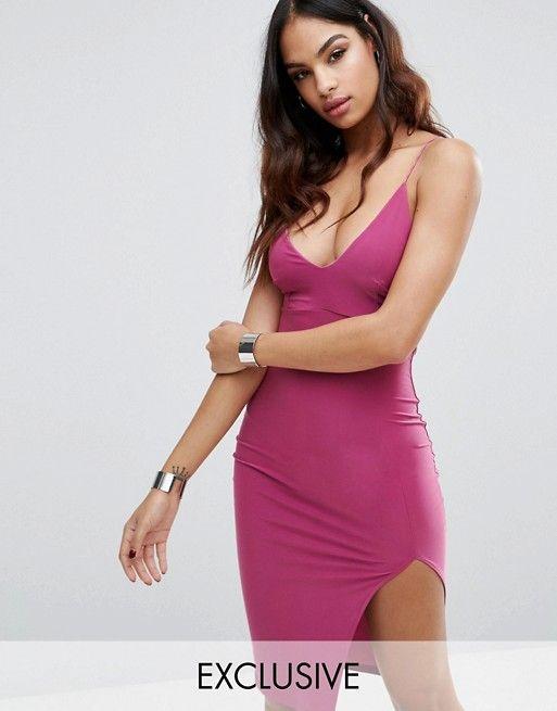 Club L Midi Cami Dress with Split at asos.com