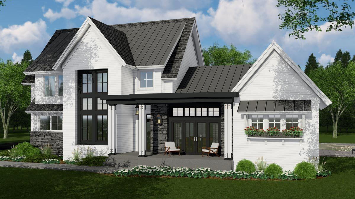 Plan 14667rk Modern Meets Farmhouse With Optional Rear Garage Door To Outdoor Living Brick Exterior House Farmhouse Style House Modern Farmhouse Plans