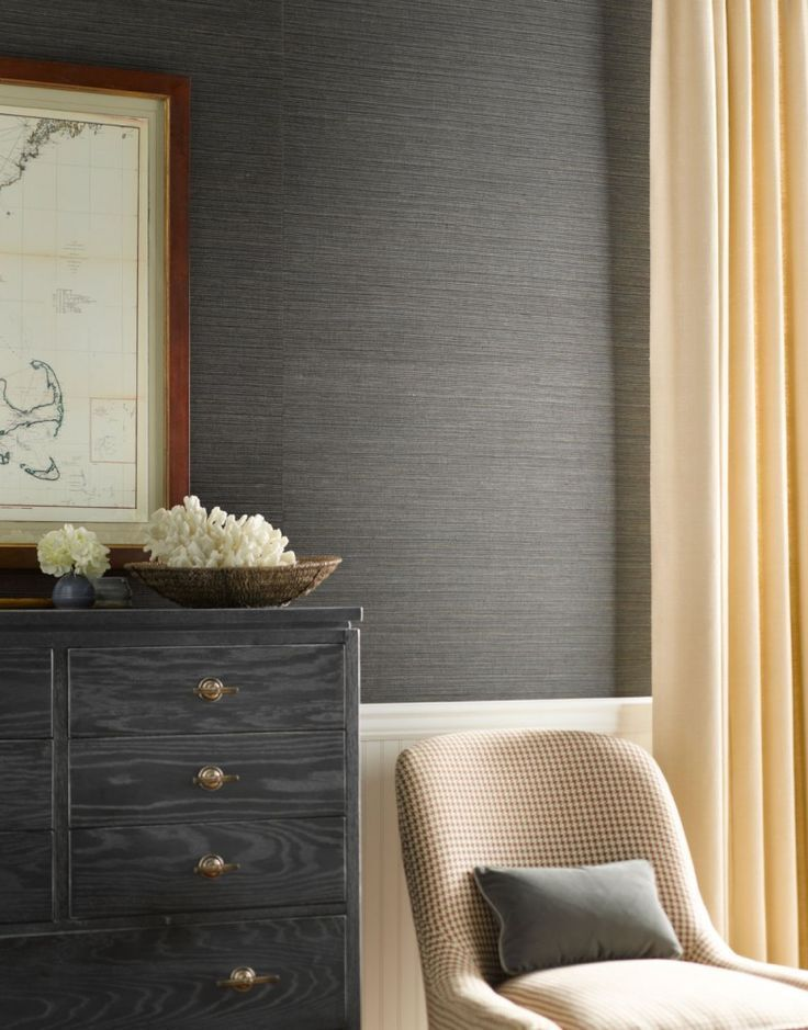 Slide 7 A Living Room With Charcoal Grasscloth Wallpaper With Beige Colored Decors Wall Coverings Grasscloth Wallpaper Grasscloth
