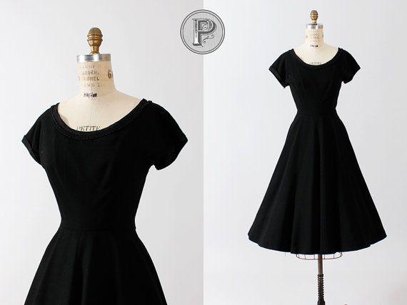 50s Black Dress Medium Large 1950s Full Circle Skirt Formal
