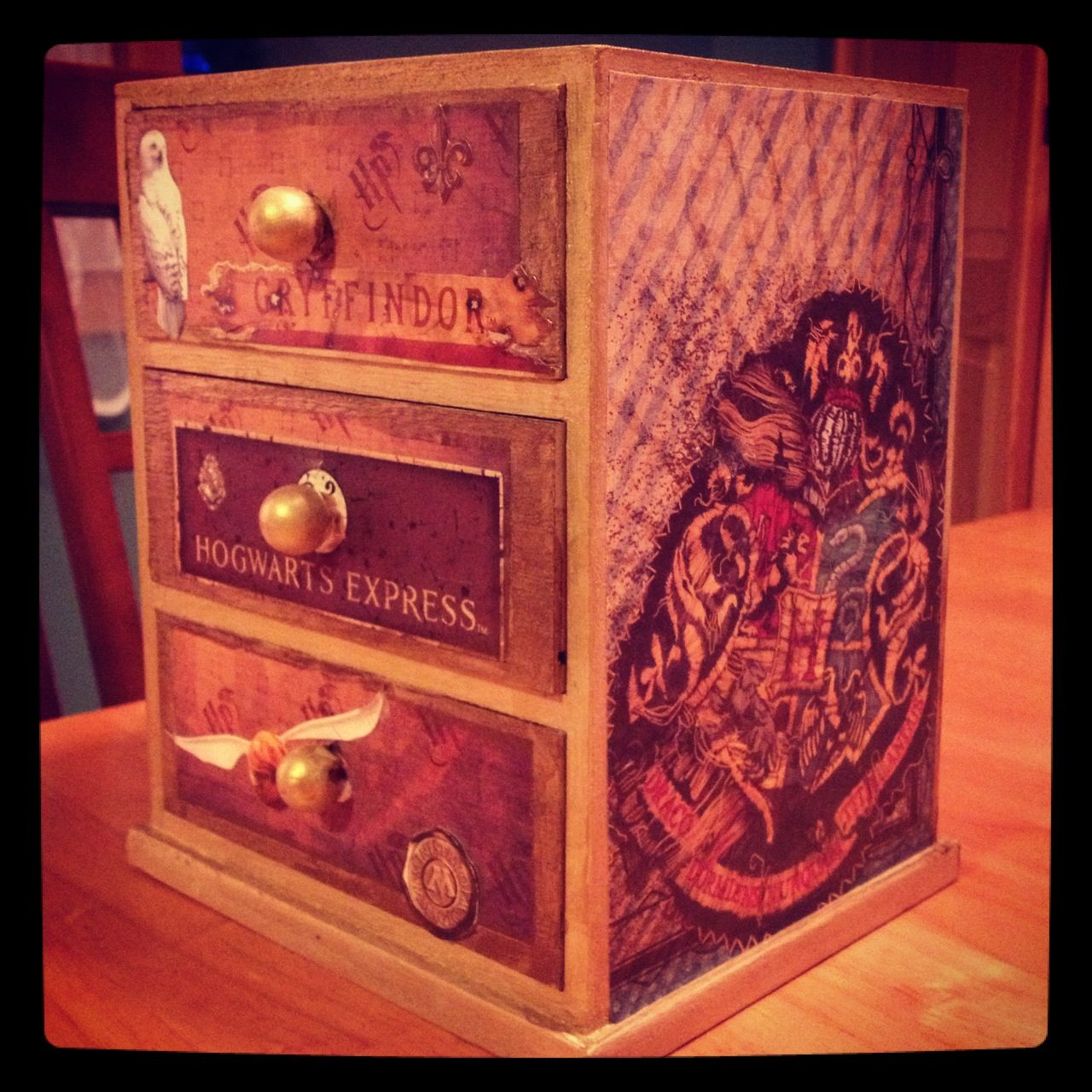 harry potter themed jewelry box i made for my niece