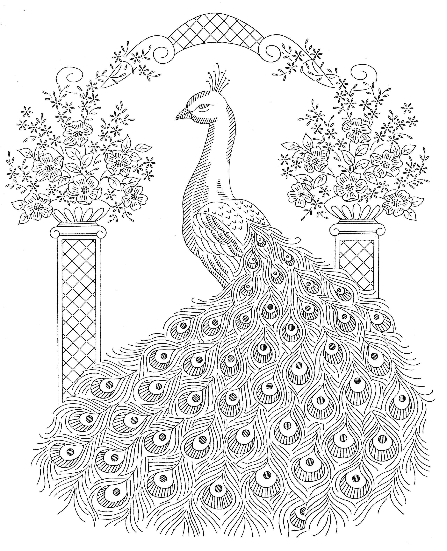 Laura Wheeler Design 893 Peacock Bedspread Motif Hayvan Boyama