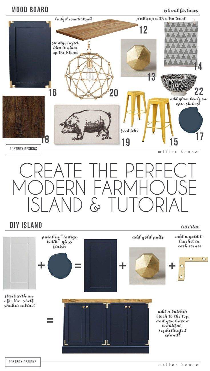 Farmhouse Kitchen Island Tutorial By Postbox Designs E Design, Mood Board,  Kitchen Island