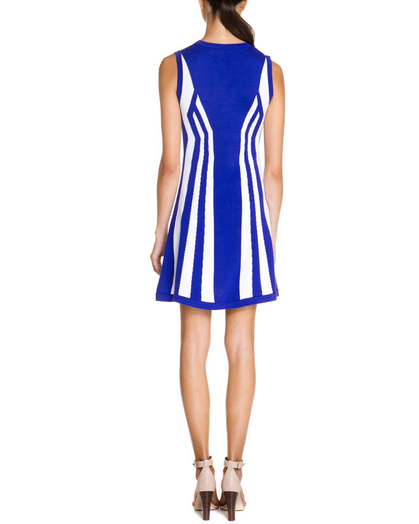 susana monaco Blue & White Colorblocked Dress