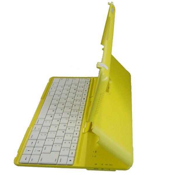 Luxury ABS Case for iPad 2-Adjustable Design + Wireless Bluetooth Keyboard Yellow
