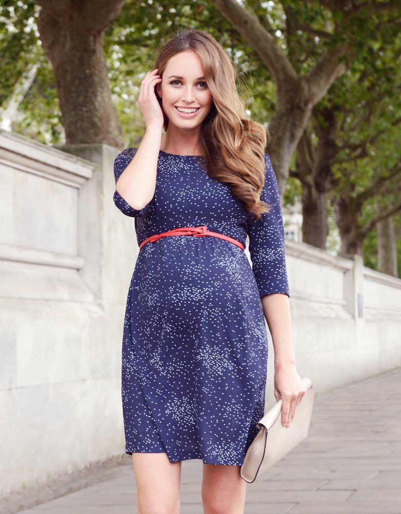 0cdf680b337 Navy Blue Dot Woven Maternity Dress