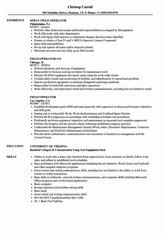 Oil Field Resume Examples Best Of Oil Field Resume Skills