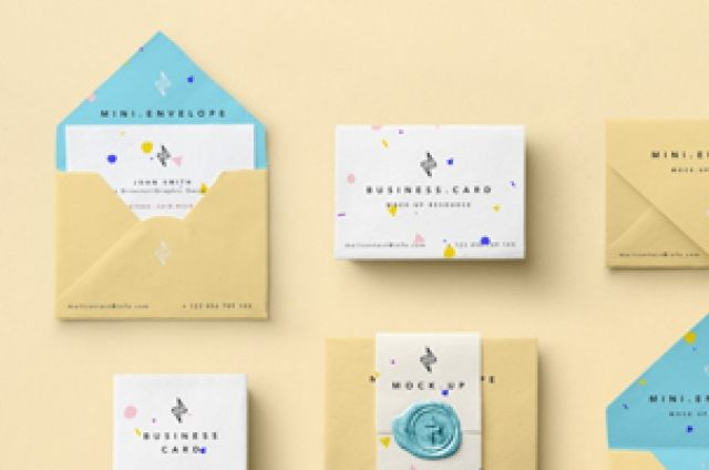 This is a mix of psd business card mockup and psd mini envelope - business envelope template