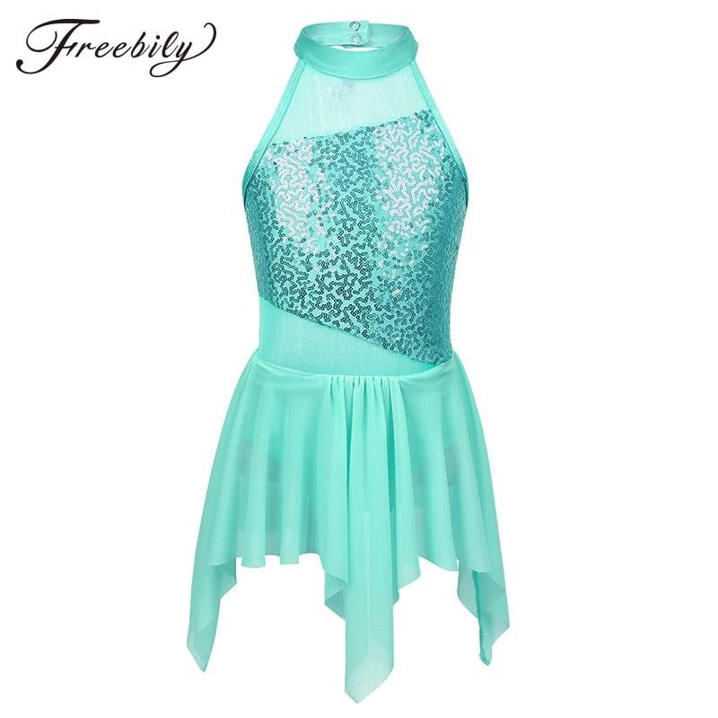 Freebily Womens Adult Halter Lyrical Ballet Dance Dress Leotard Irregular Tulle Skirt Dancing Costume